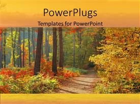 Colorful presentation theme having autumn in forest with orange yellow and red leaves trail