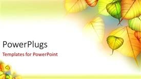 PPT theme having beautiful depiction of colorful autumn leaves in white background