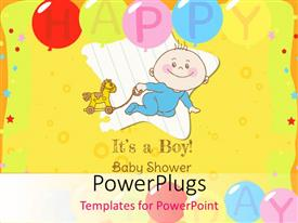 Presentation theme enhanced with baby Boy Shower and Arrival Card with image of a happy baby boy