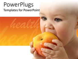 Colorful presentation having baby eating fruit, healthy nutrition, orange and white background