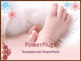 Slide set featuring baby feet on white flurry blanket on a petal background