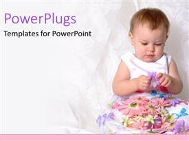 PPT theme enhanced with baby girl in white floral dress playing with purple flower on pink background