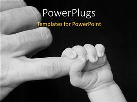 Beautiful PPT theme with a baby holding the hand of the father