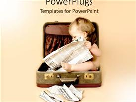 Amazing PPT theme consisting of baby sitting in suitcase reading newspaper on pale background, starting early, infant