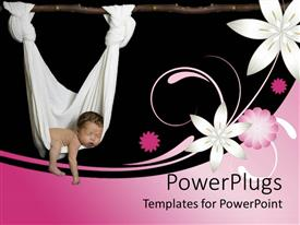 Presentation having baby sleeping in a white hammock with pink and white flowers