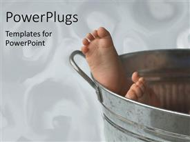 Elegant slide deck enhanced with baby's feet showing from aluminium bucket on white background