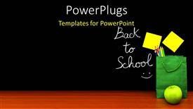 Colorful presentation having learning depiction with school materials and sticky note on chalkboard