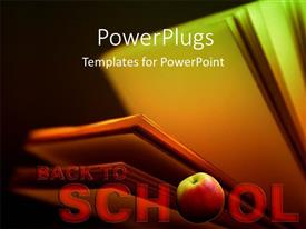 Amazing presentation theme consisting of back to school depiction with open book and apple in black background