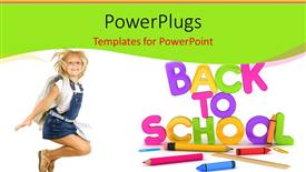 Colorful PPT theme having learning depiction with school supplies and cute girl dressed for school