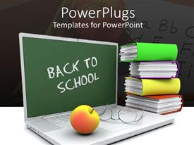 Theme enhanced with back to school laptop with apple, glasses and books, teacher, teaching, education