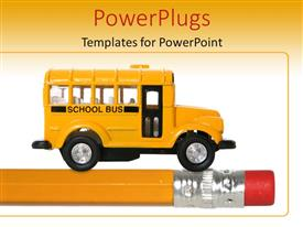 Audience pleasing slides featuring back to school with orange school bus toy on pencil, education
