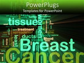 Presentation featuring the background consist of a number of texts related to breast cancer