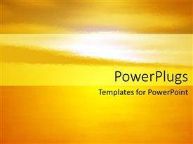 PPT theme consisting of background depicting the setting of the sun orange yellow colors