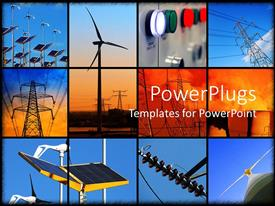 PPT layouts with background formed of twelve different electricity depictions with solar panels windmill and electricity post