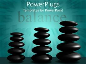 Elegant presentation design enhanced with balance word with three stacks of black stones, cyan background