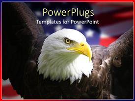 Presentation theme with bald eagle staring with an american flag behind it