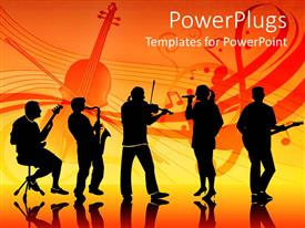 Audience pleasing PPT theme featuring a band with various people playing instruments and a vocalist