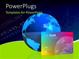PPT layouts featuring a Banking concept, credit card with a 3D globe and blue finance background
