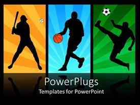 Colorful presentation theme having baseball, basketball, and soccer players in action
