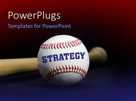Amazing presentation theme consisting of baseball with text STRATEGY written with baseball bat