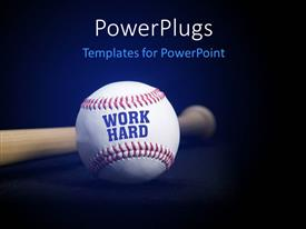 PPT layouts enhanced with baseball with text WORK HARD over blue and black background