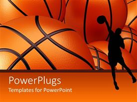 Amazing slides consisting of basketball player shadow against basketballs background