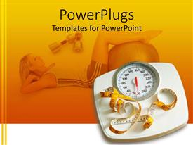 Colorful PPT theme having bathroom scale and measuring tape in yellow background with woman working out