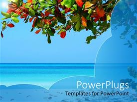 PPT theme consisting of beach setting with tree branch, colored tree leaves, sand and ocean water