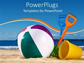 PPT layouts with beach toys with beach ball, spade and yellow beach bucket on sand with sea and blue sky in the background