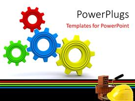 PPT theme consisting of beautiful 3D Under Maintenance wheels with safety helmet