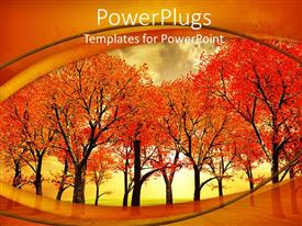 Elegant slides enhanced with beautiful autumn trees landscape on an orange background