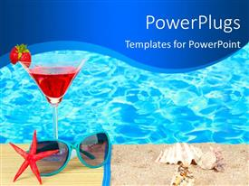 Beautiful presentation theme with beautiful beach with cocktail, sunglasses and beach equipments