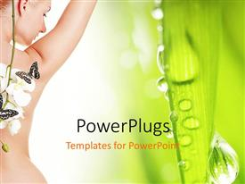 Elegant slide deck enhanced with a beautiful naked girl with greenish background
