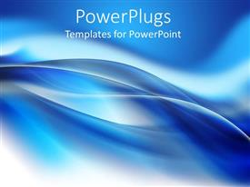 PPT theme with beautiful blue abstract background with smooth wavy lines