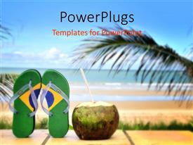 PPT layouts featuring beautiful Brazilian beach with straw out of coconut and palms