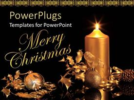 PPT theme featuring beautiful Christmas decorations along with a candle and other materials