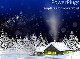 Presentation theme enhanced with beautiful Christmas depiction with snow fall on house and Christmas trees