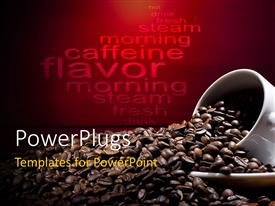 PPT theme with a number of coffee beans with reddish background