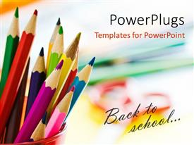 Presentation design enhanced with beautiful colored pencils in red cup with text back to school