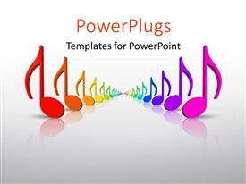 PPT theme with beautiful colorful 3D rainbow music notes in many colors with grey color