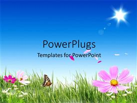 Colorful PPT layouts having a beautiful day time view of a natural landscape