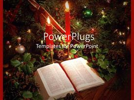 Presentation design featuring a beautiful depiction of Bible and candles along with celebration material