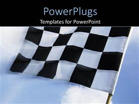 Presentation theme having a beautiful depiction of a checkered flag in the air