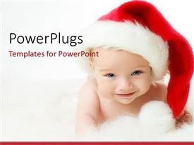 PPT theme with a beautiful depiction of a child celebrating Christmas