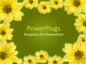 Presentation design consisting of a beautiful depiction of a collection of sunflowers with a place for text