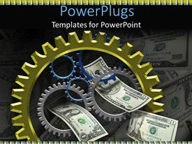 Audience pleasing PPT theme featuring a beautiful depiction of dollar notes along with gears