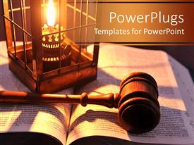 Audience pleasing presentation theme featuring a beautiful depiction of a gavel and a Bible
