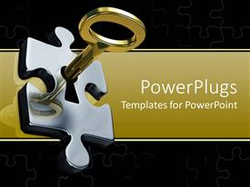 Beautiful PPT theme with a beautiful depiction  of a key unlocking a puzzle