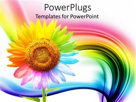 PPT layouts enhanced with a beautiful depiction of a multicolored sunflower with rainbow in the background