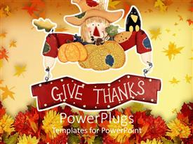 Elegant presentation theme enhanced with a beautiful depiction of thanksgiving with celebration material